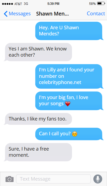 Shawn Mendes phone number email address